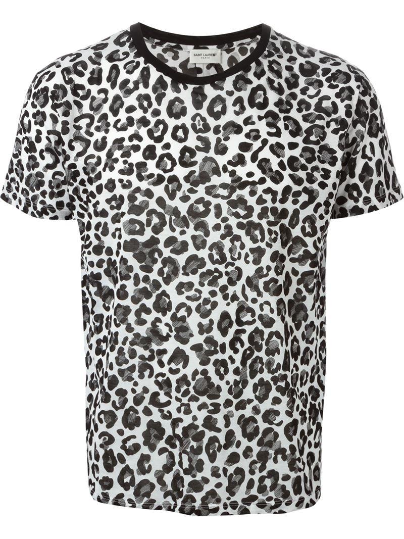 Lyst saint laurent babycat print cotton t shirt in white for Saint laurent t shirt