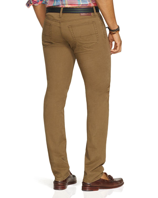 ralph lauren polo varick slim fit 5 pocket pants in green. Black Bedroom Furniture Sets. Home Design Ideas