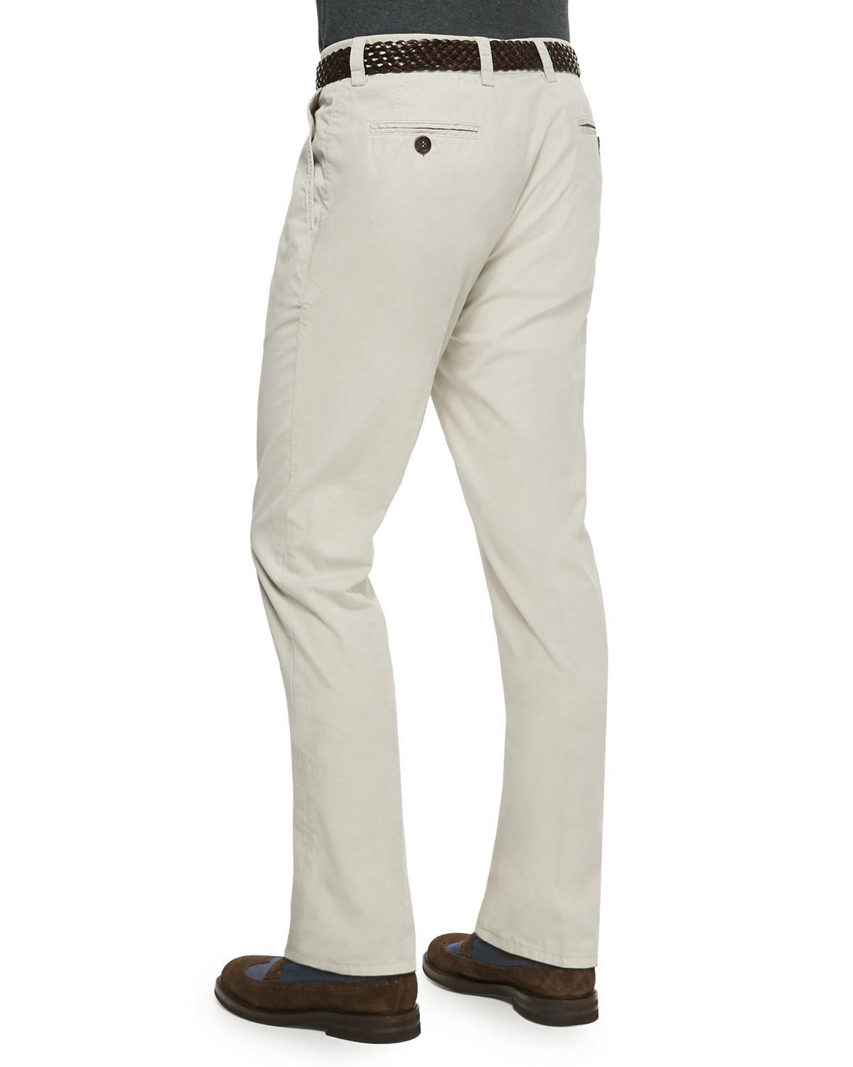 Brunello cucinelli Woven Single-Pleated Pants in Natural for Men ...