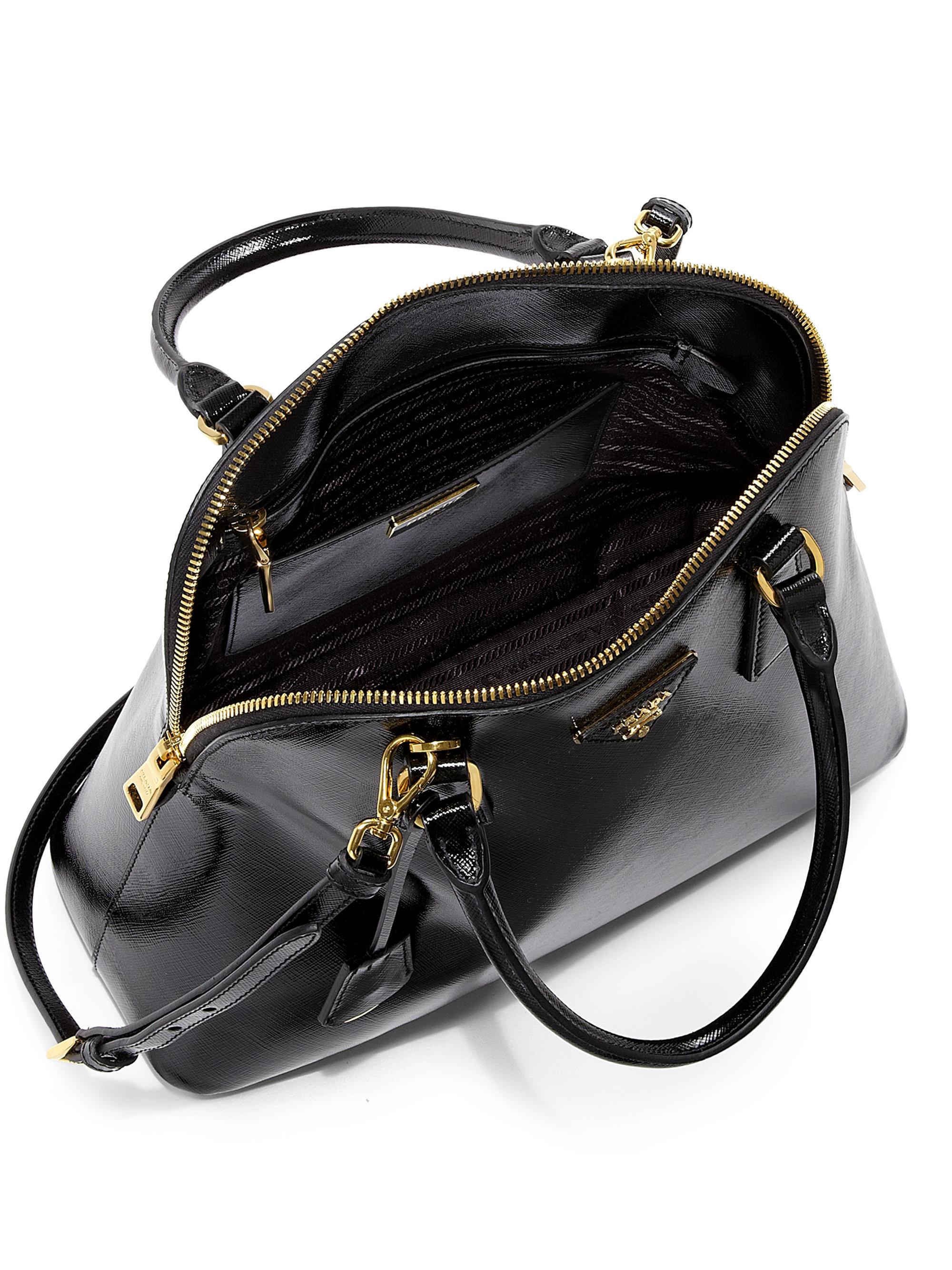 f3c55cba Prada Black Saffiano Vernice Promenade Bag