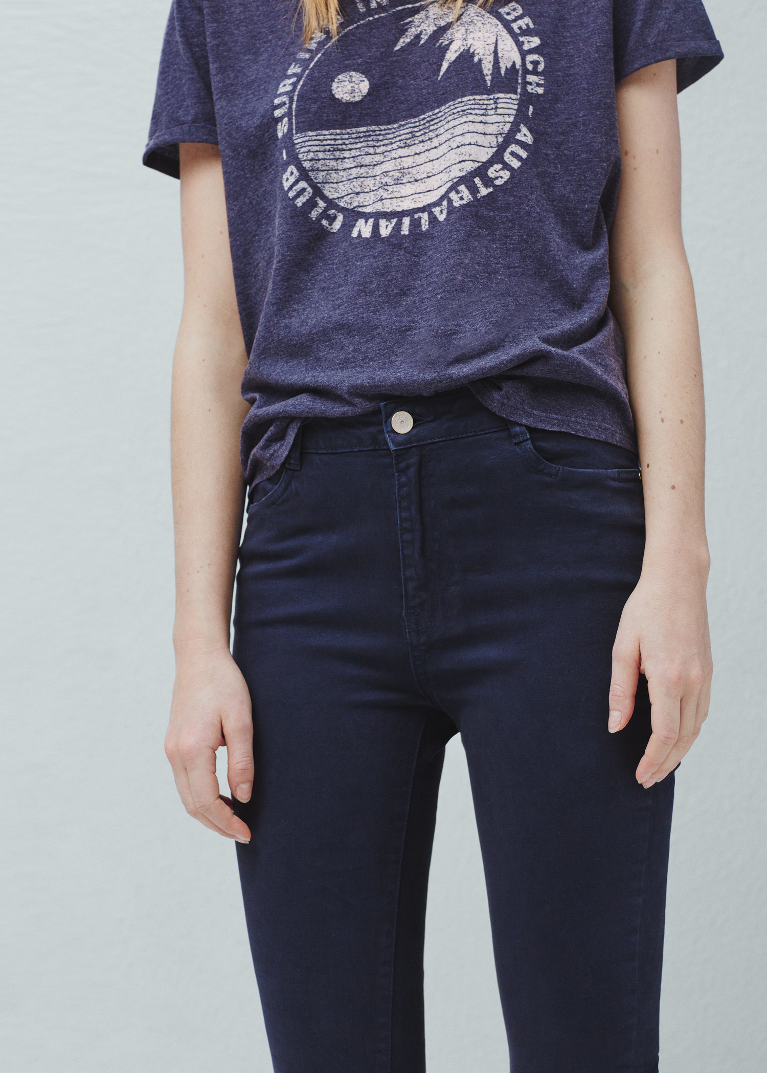 Mango High Waist Skinny Jeans in Blue