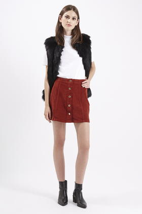 e0cbb31bc0342 TOPSHOP Cord Button Front A-line Skirt in Red - Lyst