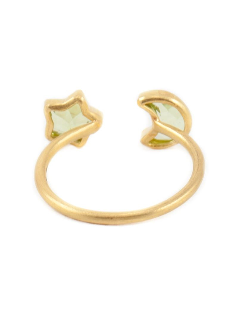 Gold Crescent Moon And Star Ring