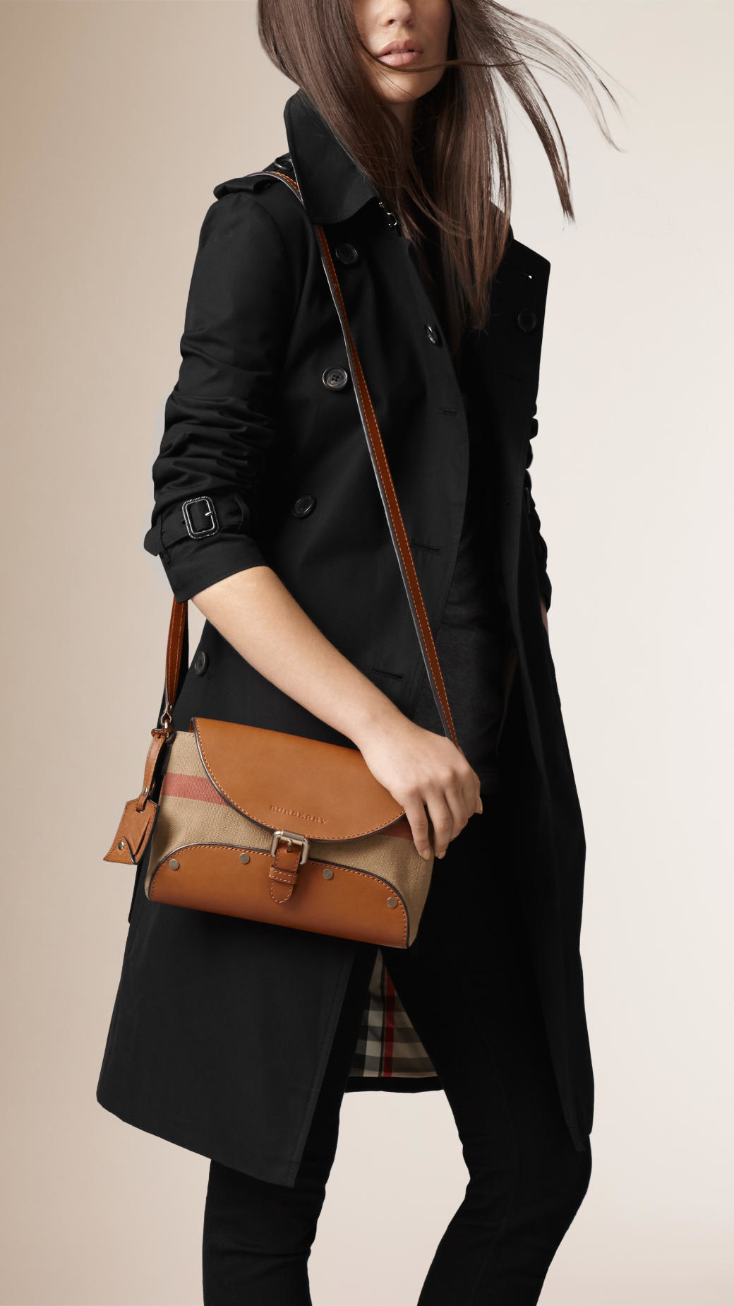 7ee6d1224018 Lyst - Burberry Small Canvas Check And Leather Crossbody Bag in Brown