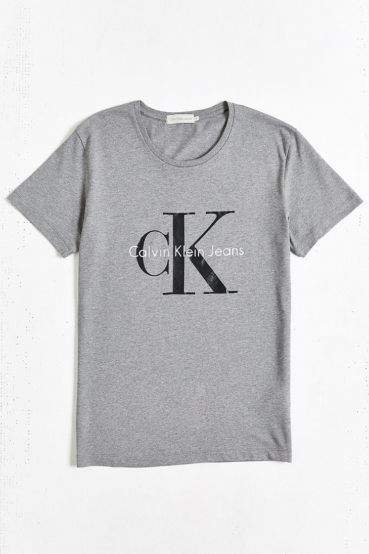 calvin klein jeans reissue tee in gray for men lyst. Black Bedroom Furniture Sets. Home Design Ideas