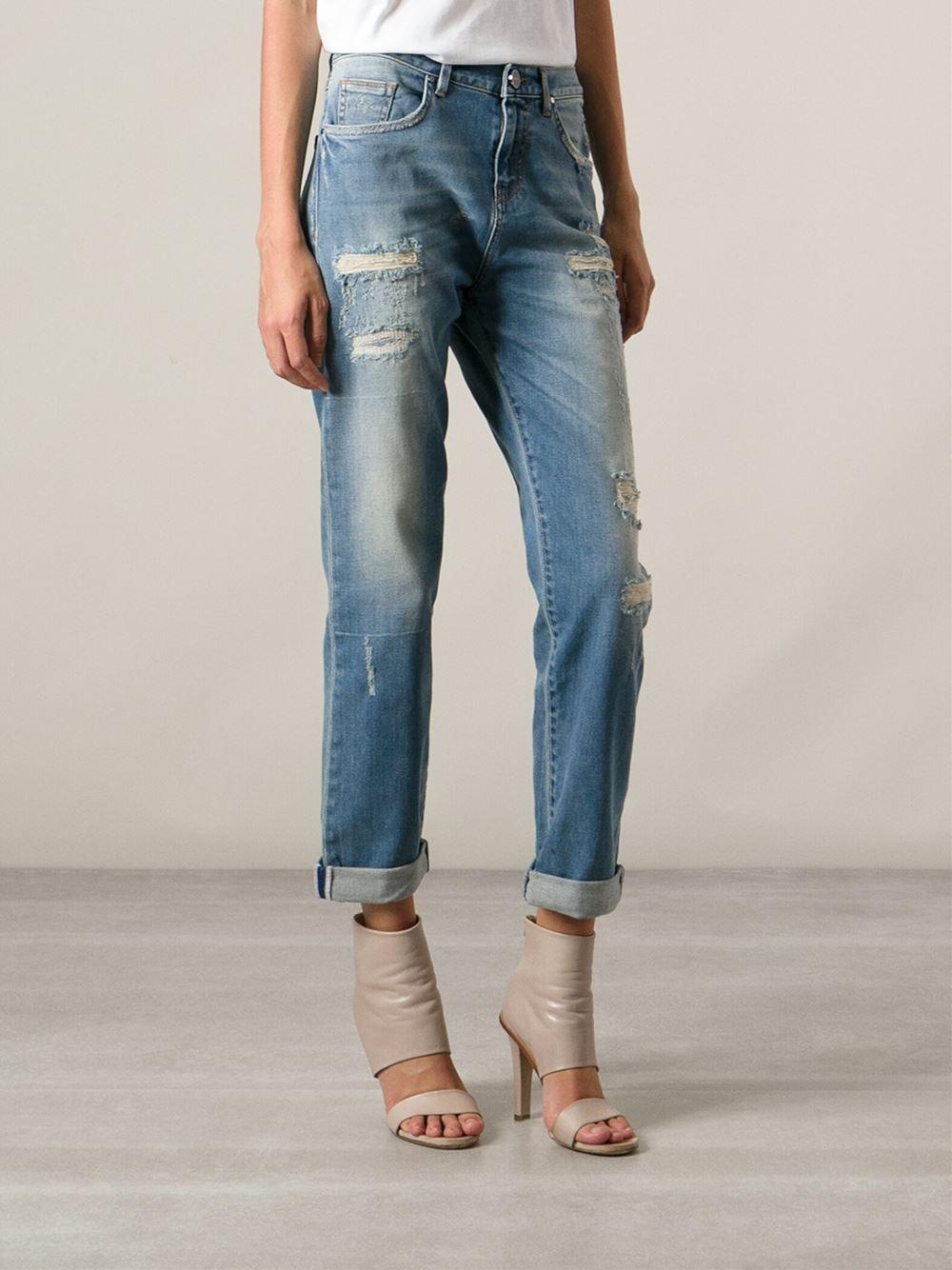 buy online 19ba2 2e4bb Pinko Distressed Boyfriend Jeans in Blue - Lyst