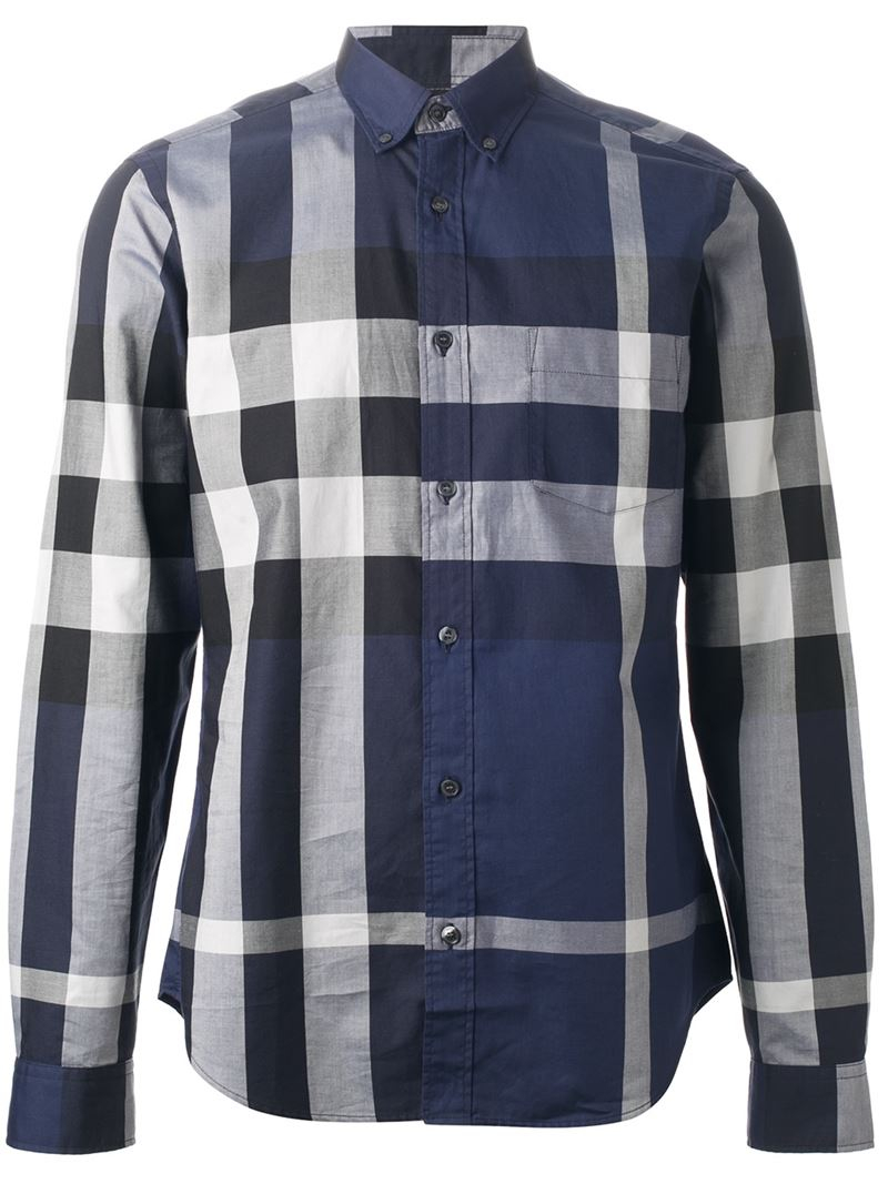 Burberry brit cotton check shirt in blue for men lyst for Burberry brit checked shirt