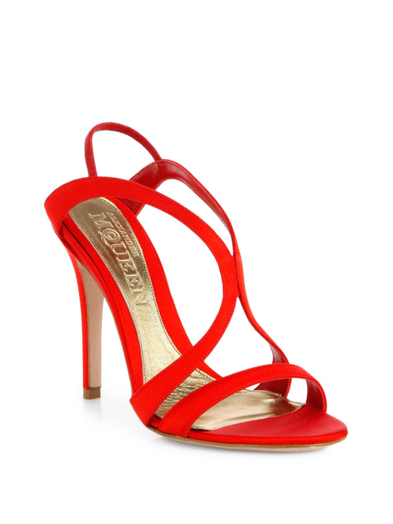 cf75a6a03df Lyst - Alexander McQueen Satin Strappy Sandals in Red