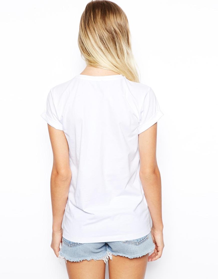 Lyst Asos Boyfriend Tshirt With Cute Unicorn Print In White