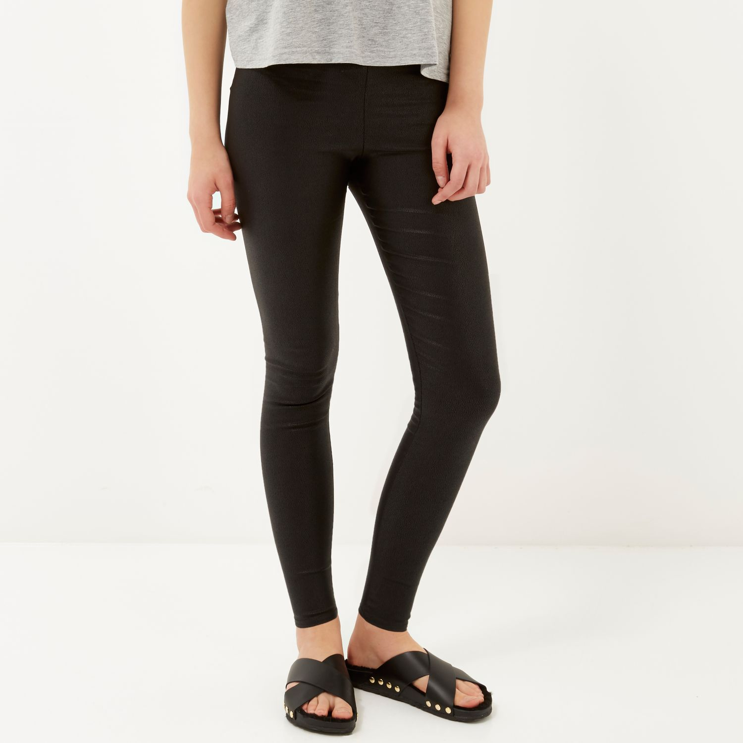 River island Black Cracked Coated High Waisted Leggings in ...