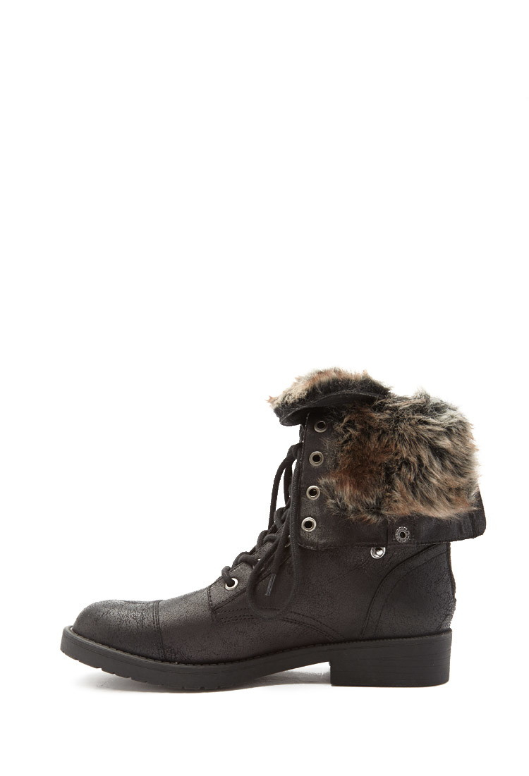 forever 21 faux fur lined combat boots in black lyst
