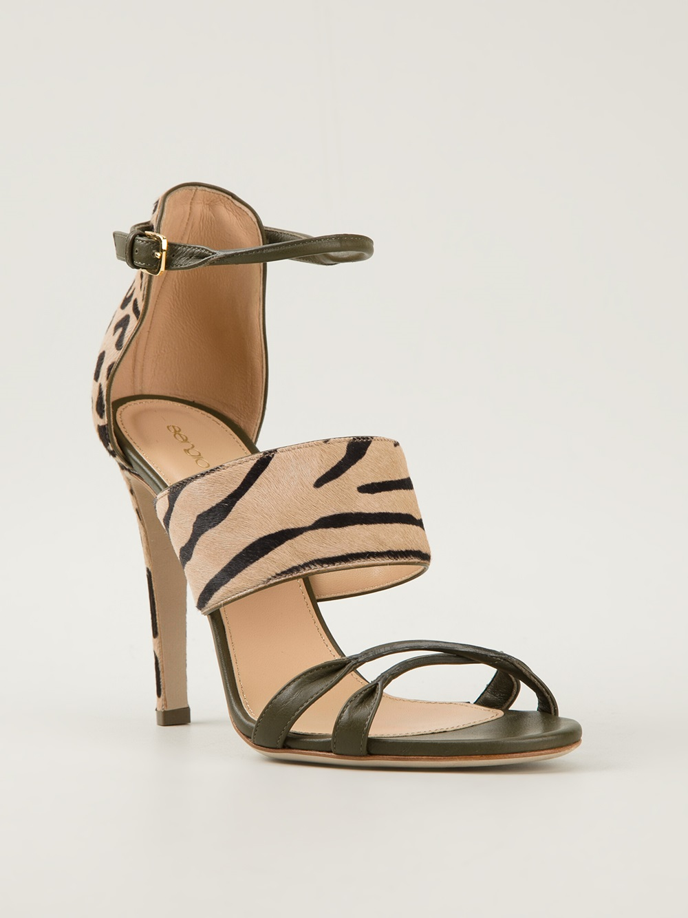 Sergio Rossi Leopard Print Sandals In Animal Nude