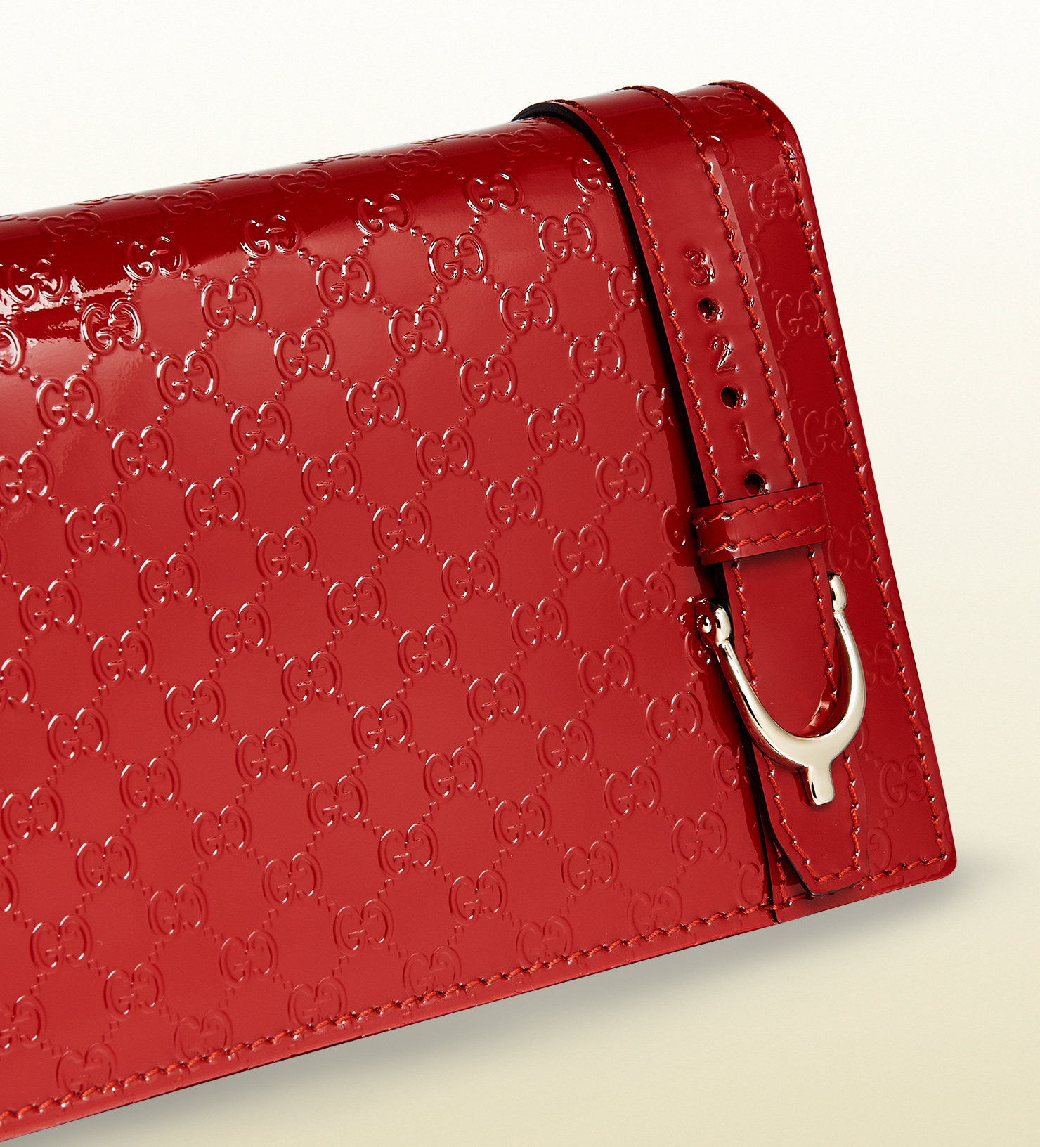 79165300572 Lyst - Gucci Nice Microssima Patent Leather Wallet Handbag in Red