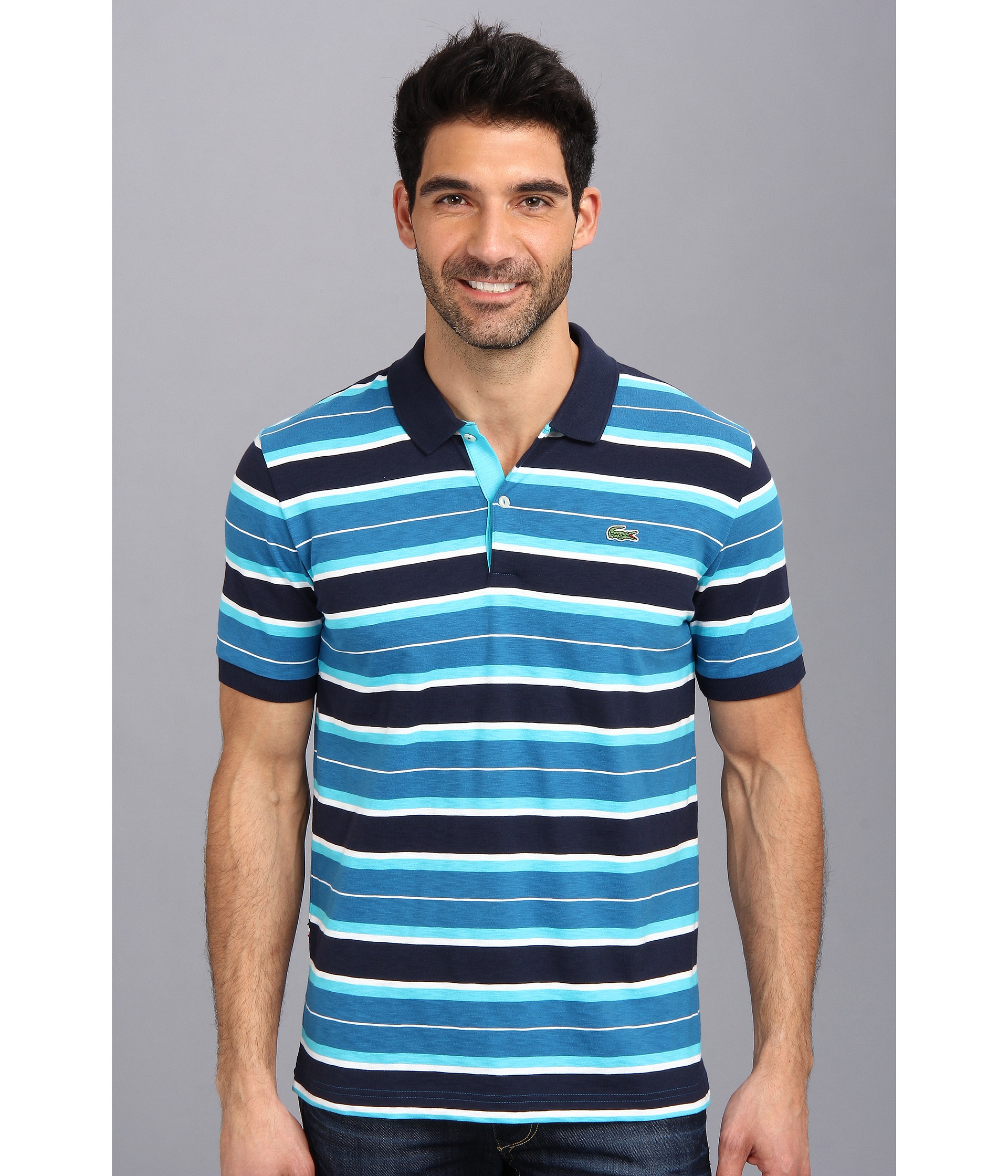 Lacoste live short sleeve slub jersey multi stripe pique for Lacoste stripe pique polo shirt