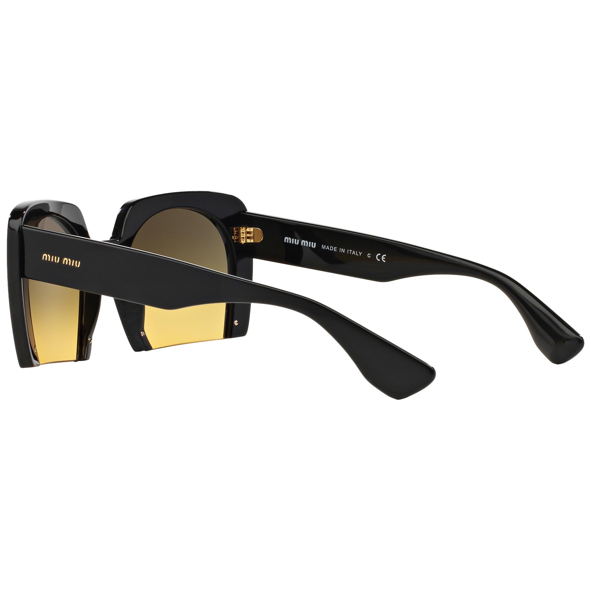 Miu Miu Mu06qs Rectangular Framed Sunglasses in Black