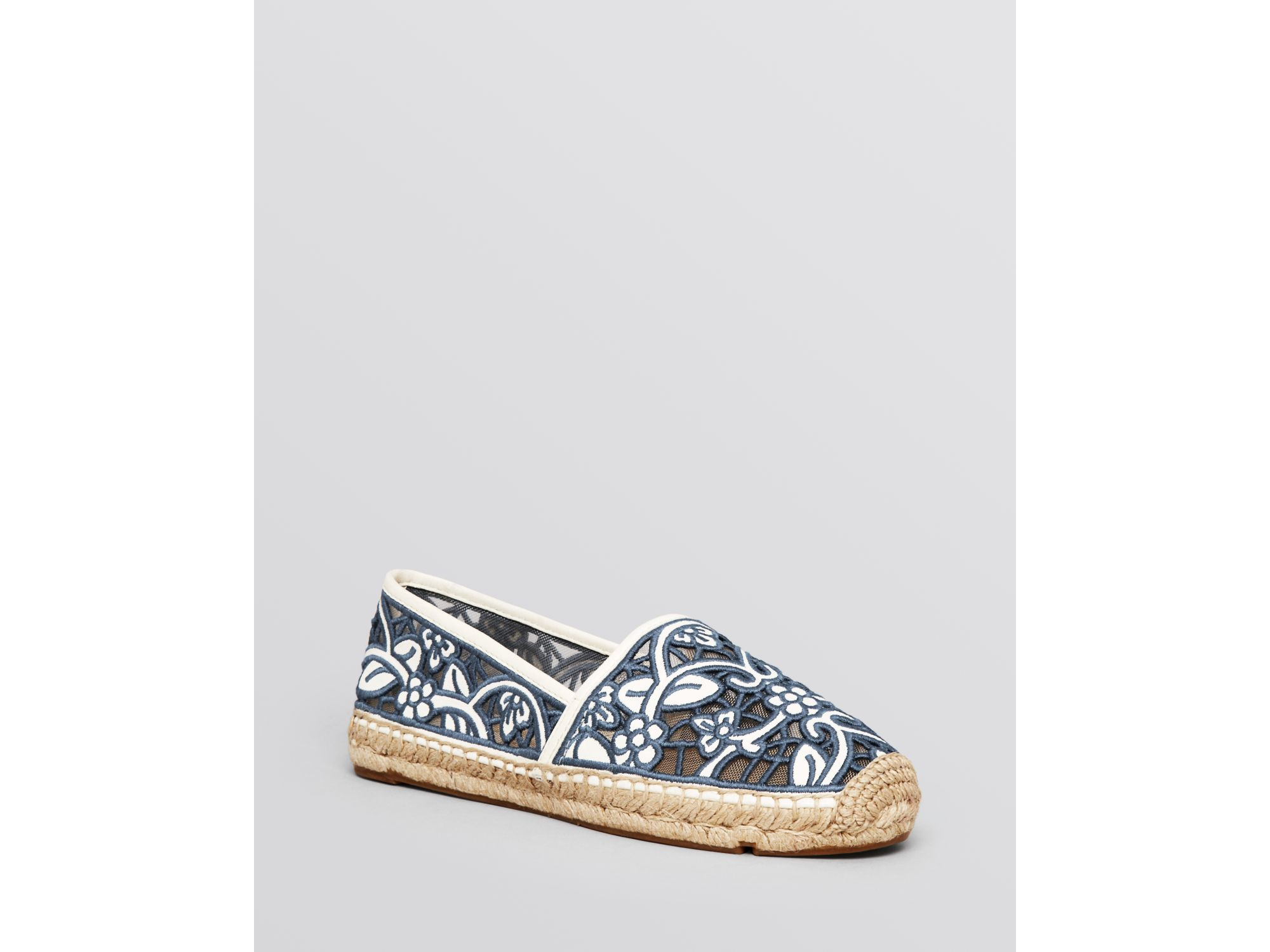 7a45a18d2c0 ... new style lyst tory burch espadrille flats lucia lace in black f2503  9447a
