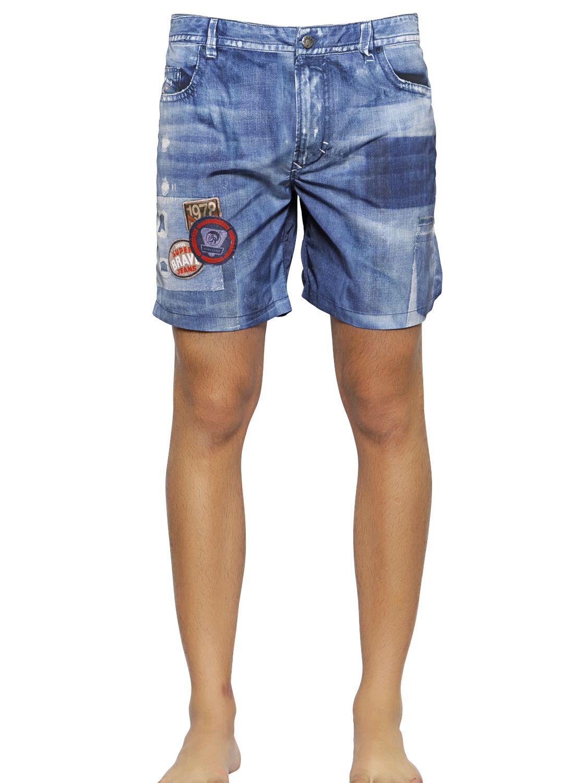 4b1f9be1 DIESEL Denim Printed Nylon Swimming Shorts in Blue for Men - Lyst