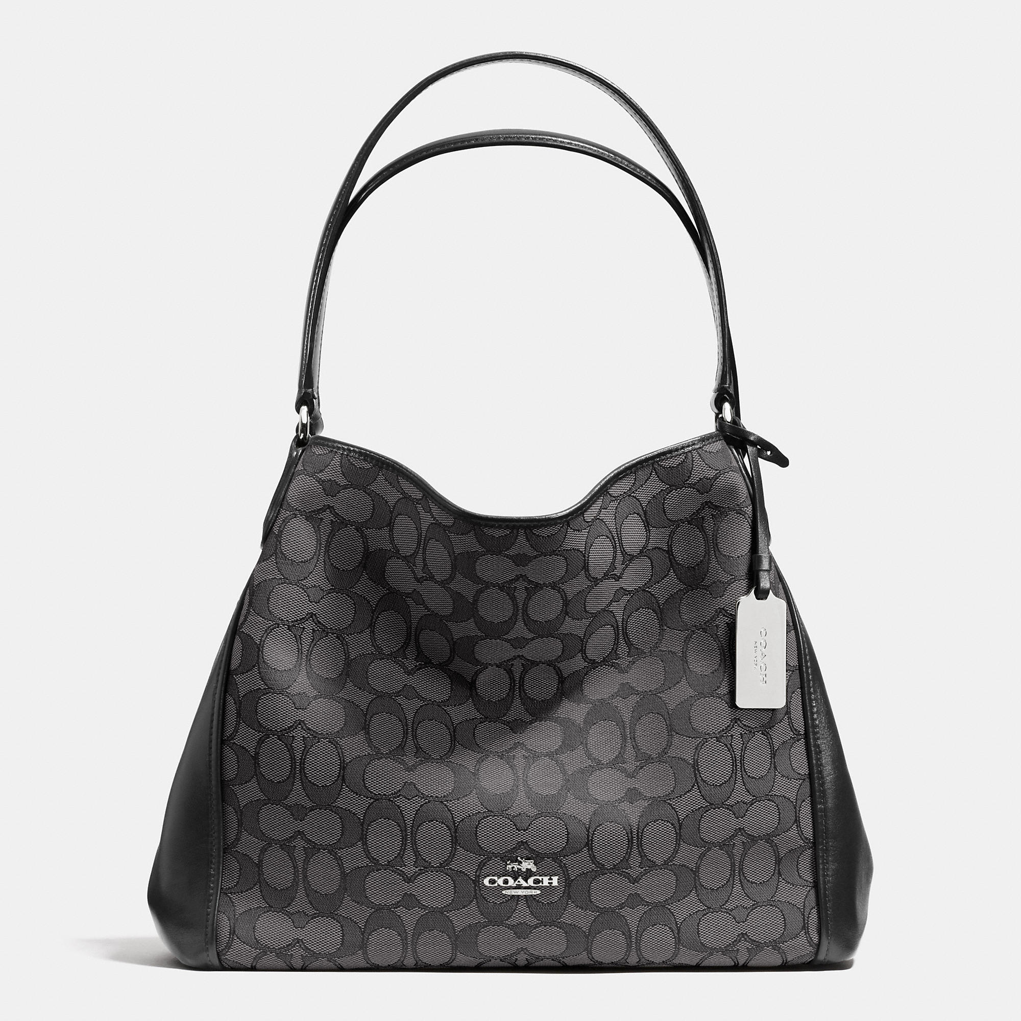 Coach Edie Shoulder Bag 31 In Signature Jacquard in Gray | Lyst