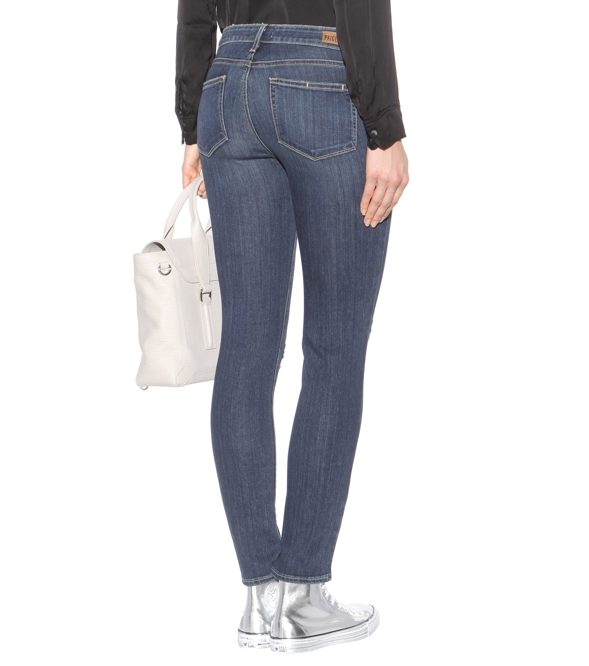 PAIGE Skyline Ankle Peg Mid-rise Skinny Jeans in Blue
