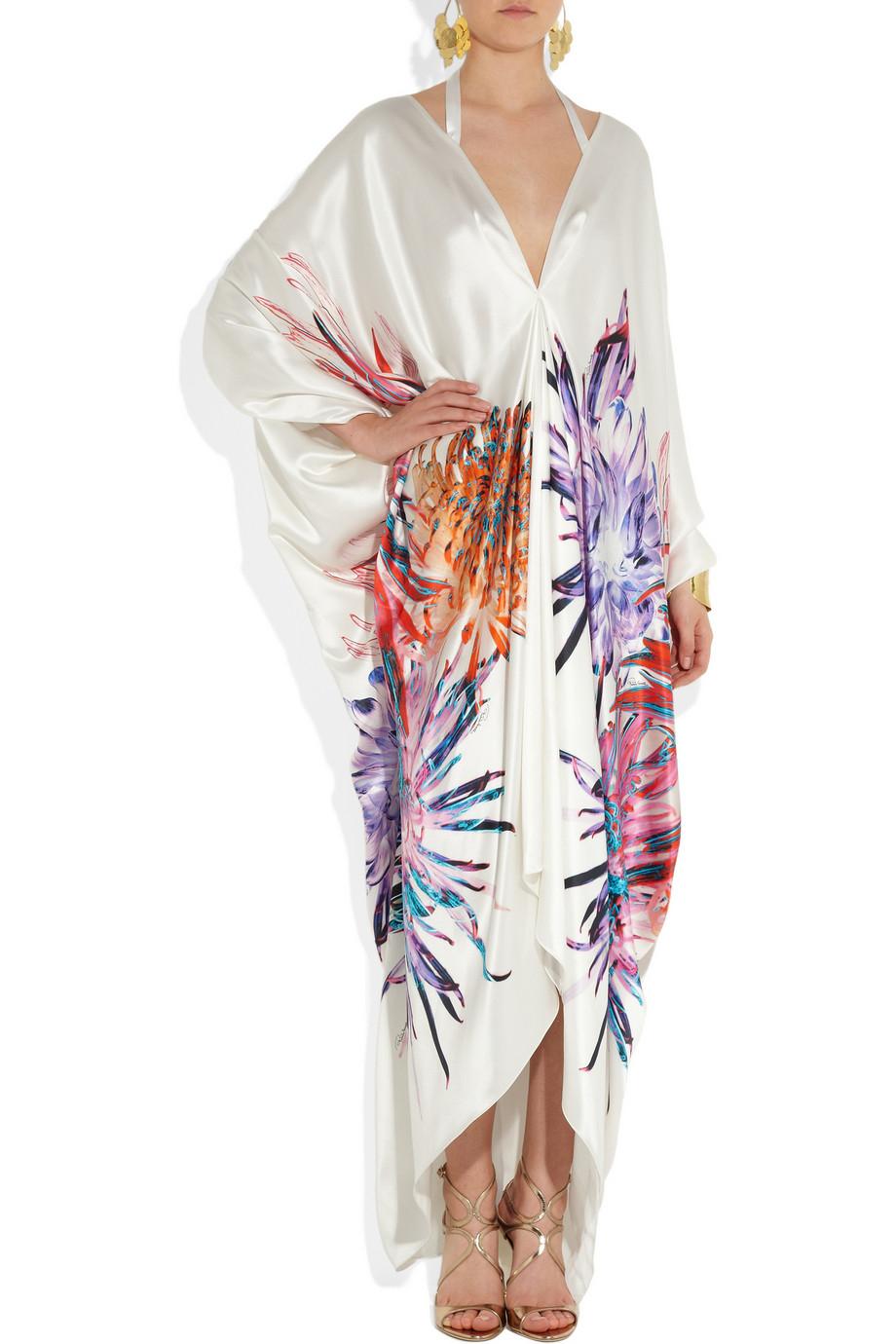 Roberto Cavalli Floral Print Silk Satin Kimono Gown In