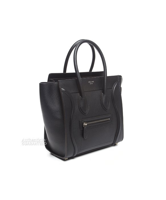 celine black and white luggage bag - celine pebbled leather micro luggage tote, buy celine nano