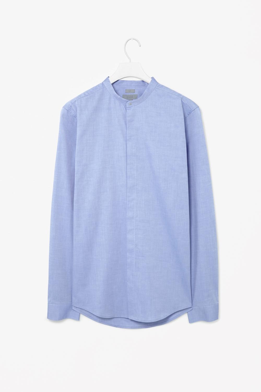 Cos grandad collar shirt in blue for men periwinkle lyst Mens grandad collar shirt