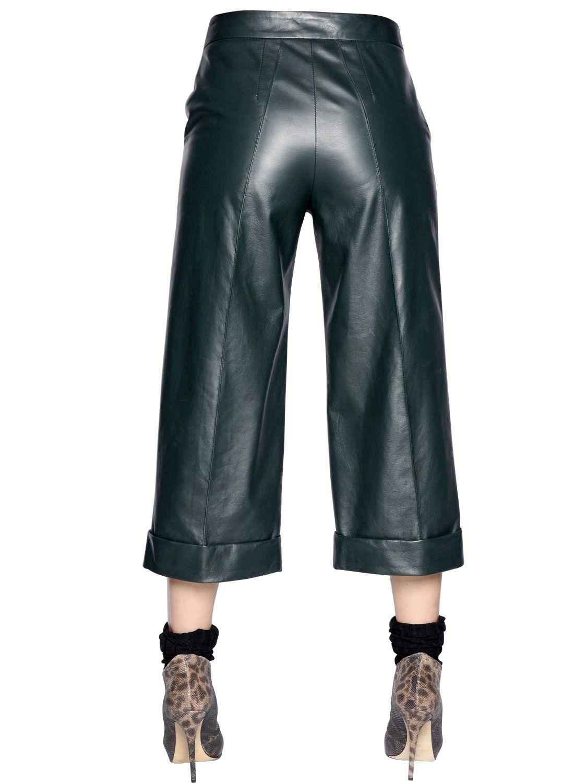 Simonetta Ravizza Nappa Leather Capri Pants In Green Lyst