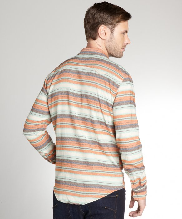 Lyst jachs orange horizontal stripe 39 azzolino 39 cotton for Horizontal striped dress shirts men