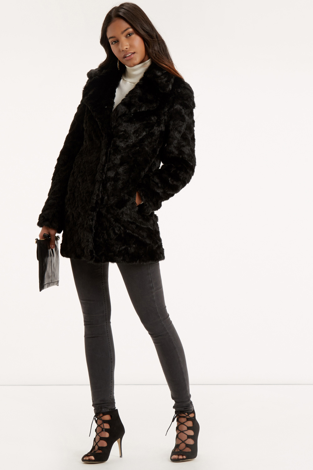 Oasis Long Fur Coat in Black | Lyst