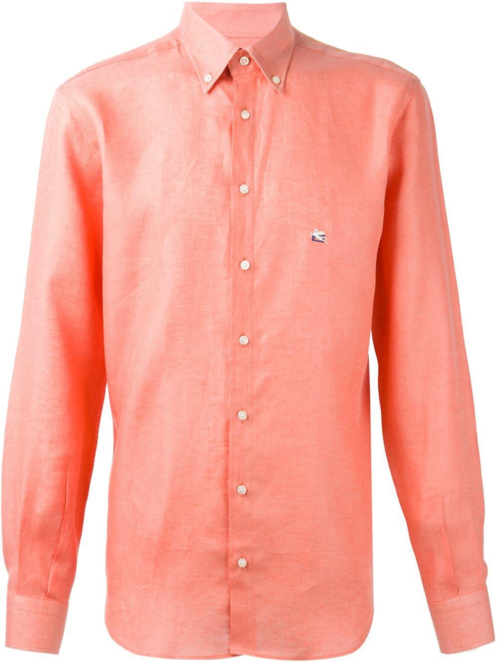 Etro Button Down Collar Shirt In Orange For Men Yellow