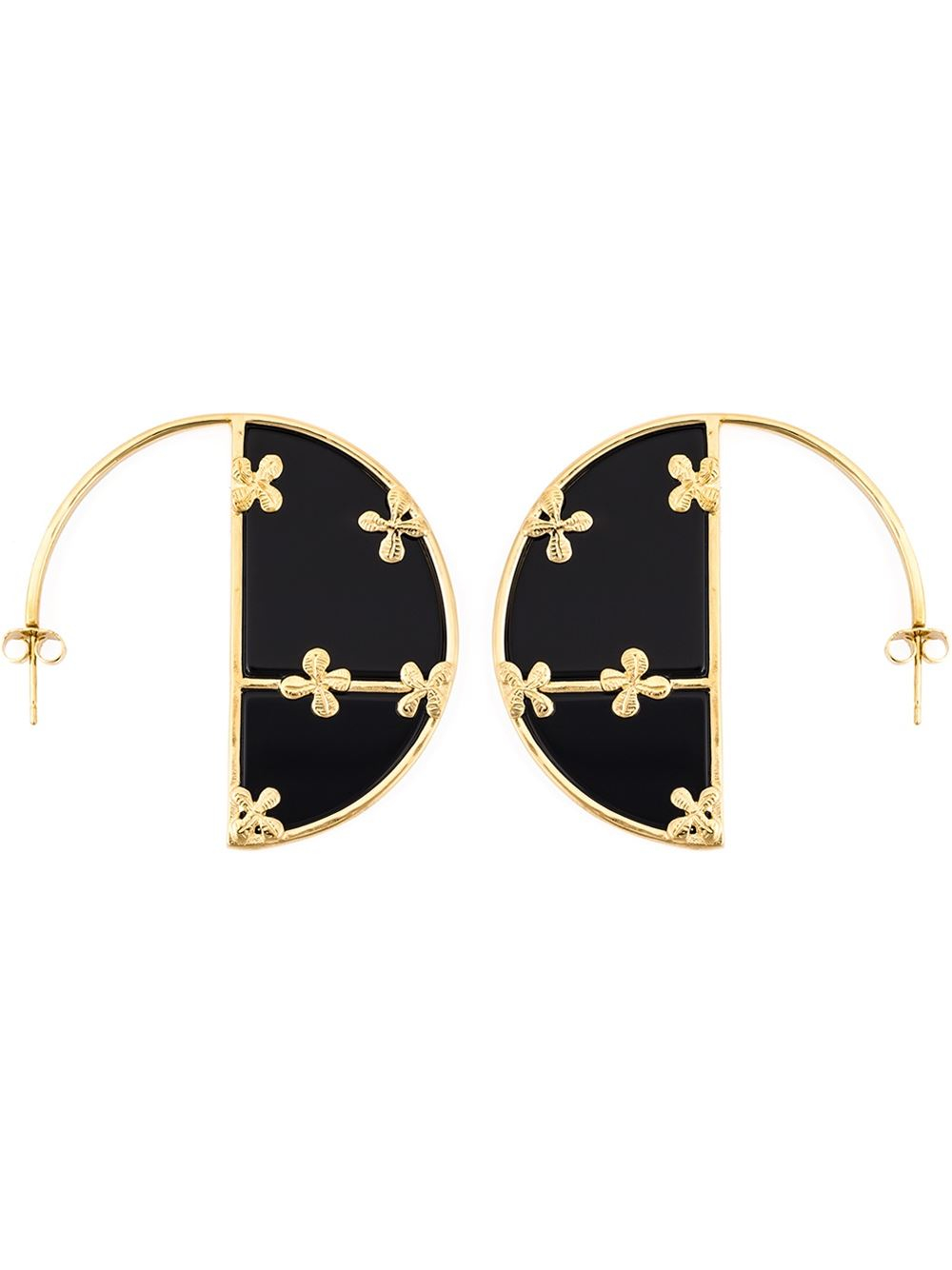 Aurélie Bidermann Bianca Onyx hoop earrings 3Ong6ec4Y