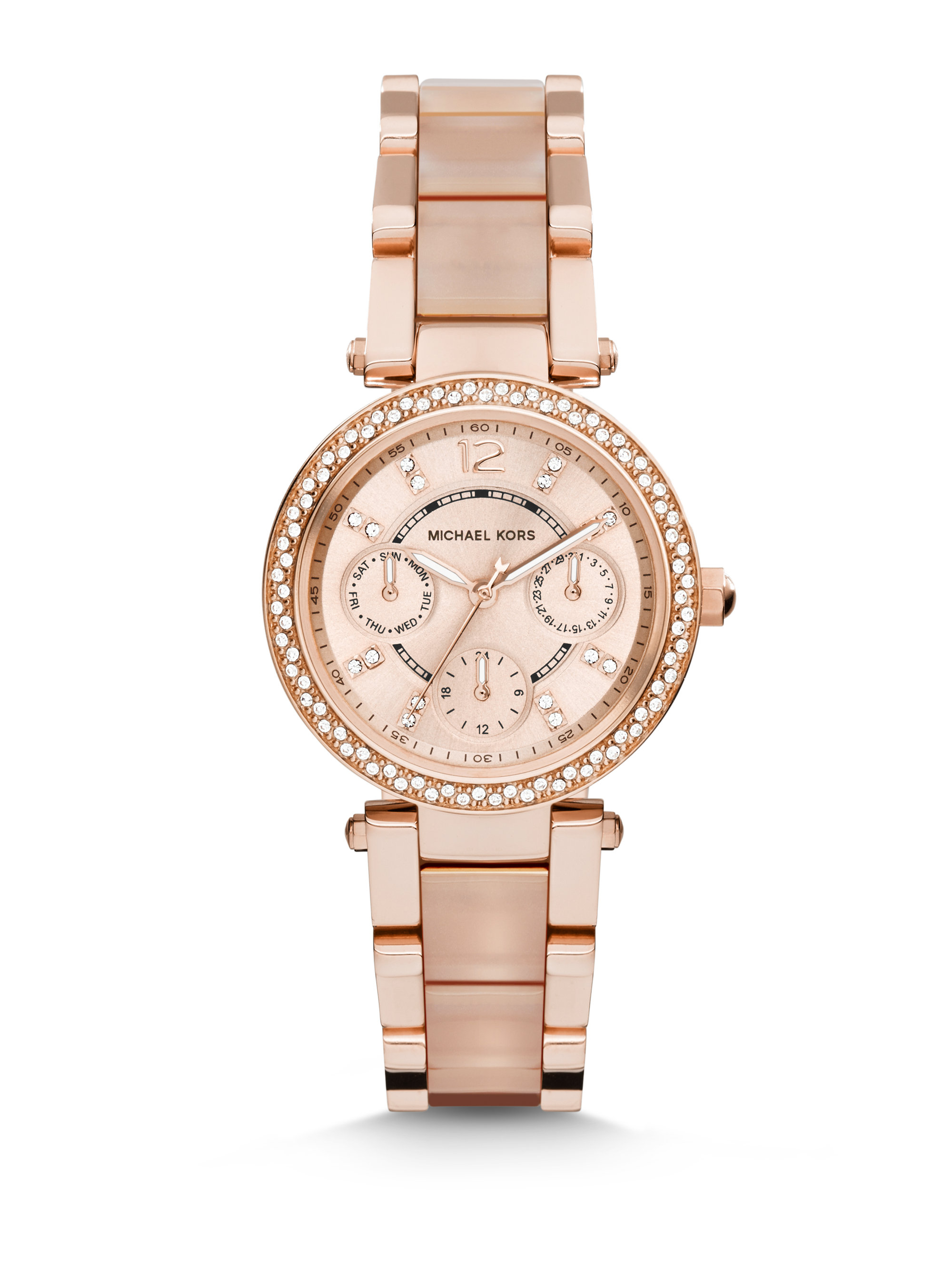 Michael kors Mini Parker Pave Rose Goldtone Stainless ...