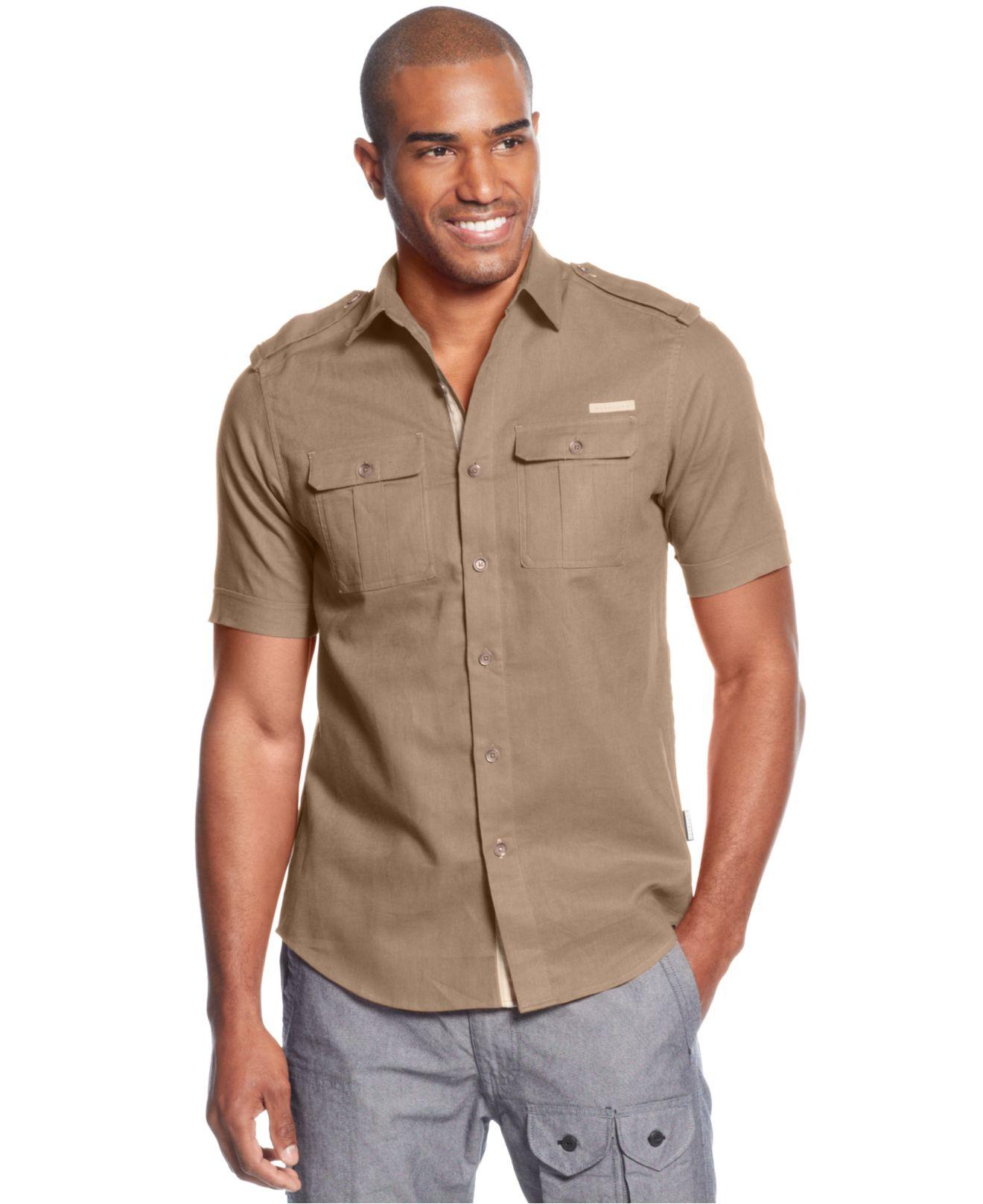 Lyst sean john short sleeve linen blend shirt in natural for Sean john t shirts for mens