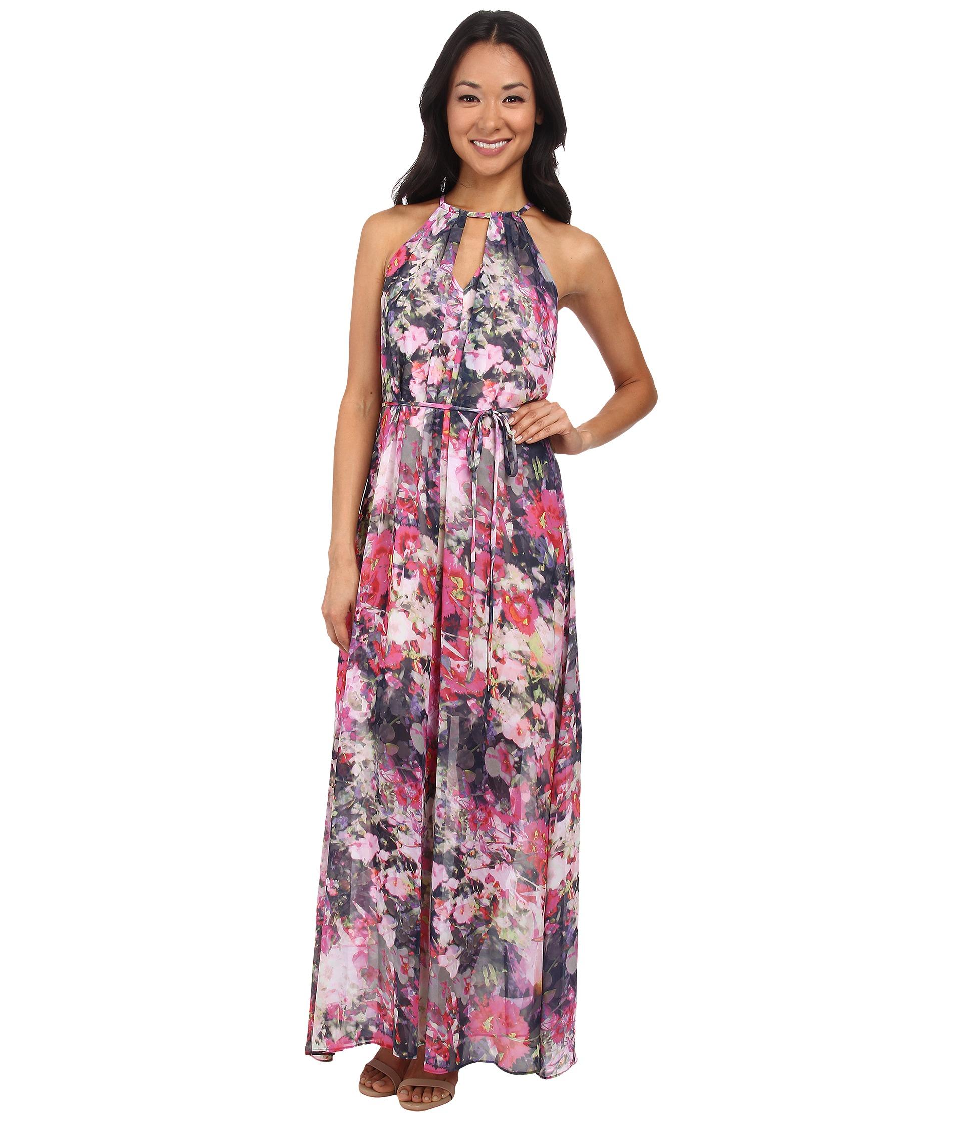 Maggy London Flower Mix Printed Chiffon Maxi Dress Lyst