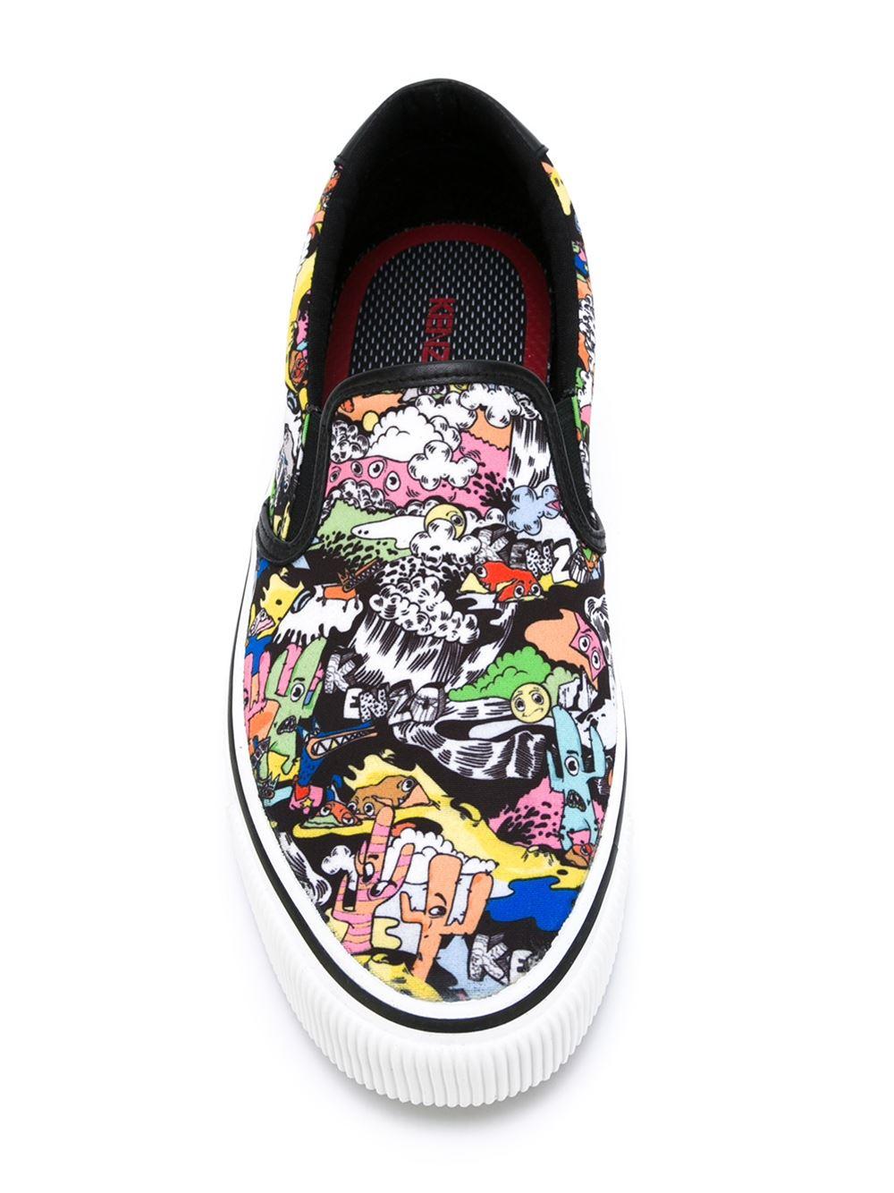 KENZO Cotton Cartoon Print Slip-on Sneaker