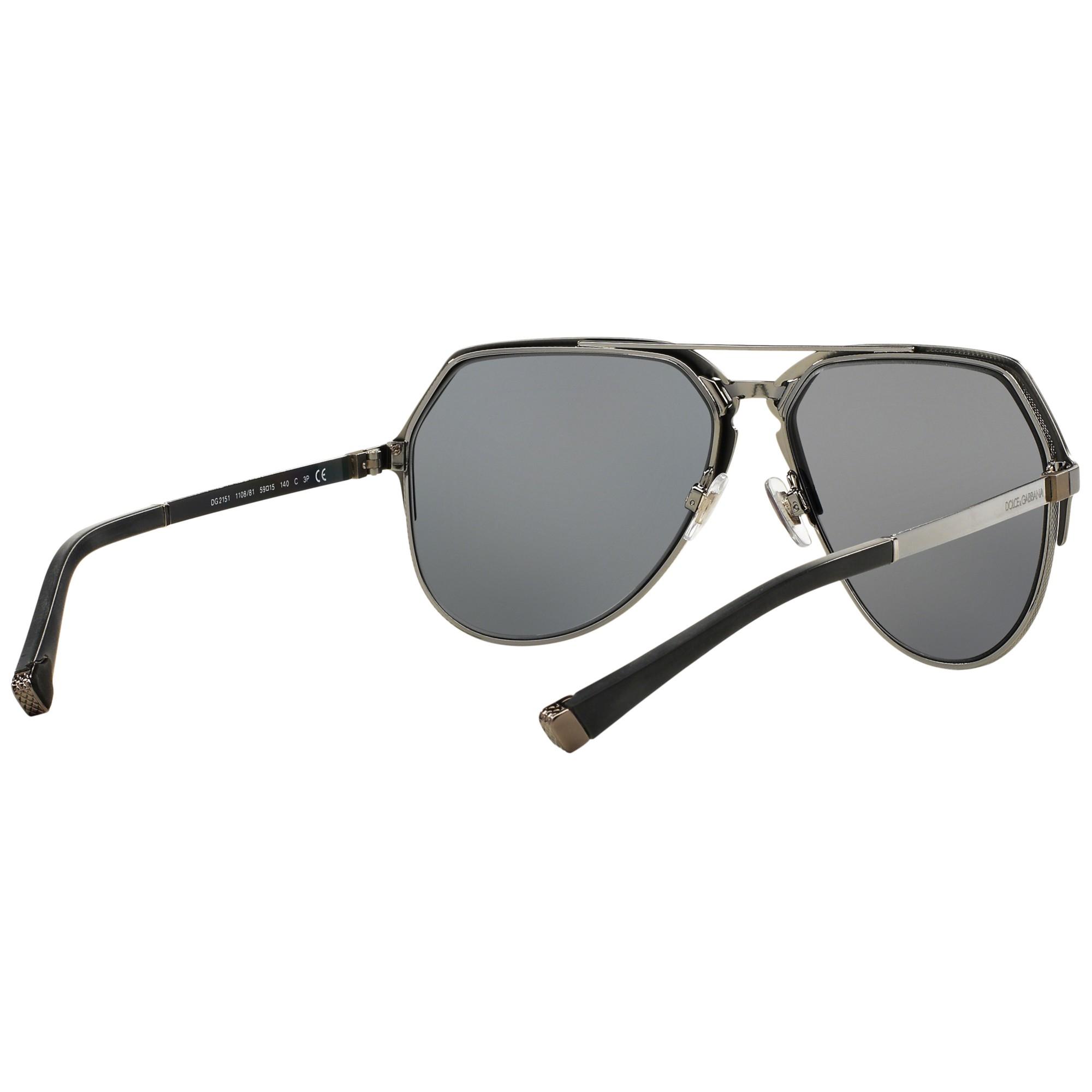 Dolce & Gabbana Dg2151 Polarised Aviator Sunglasses in Grey (Grey) for Men