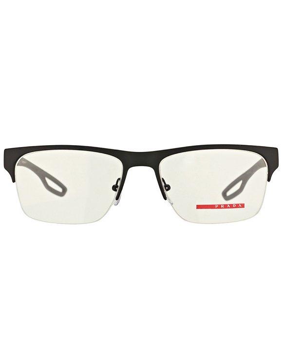 216c2cb7a7 Prada Linea Rossa Ps 52fv Dg01o1 Black Semi-rimless Metal Eyeglasses ...