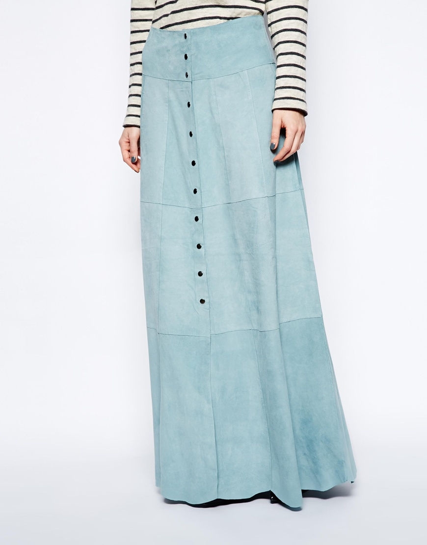 1dc5f2aa781a Ganni Ingrid Suede Maxi Skirt in Blue - Lyst