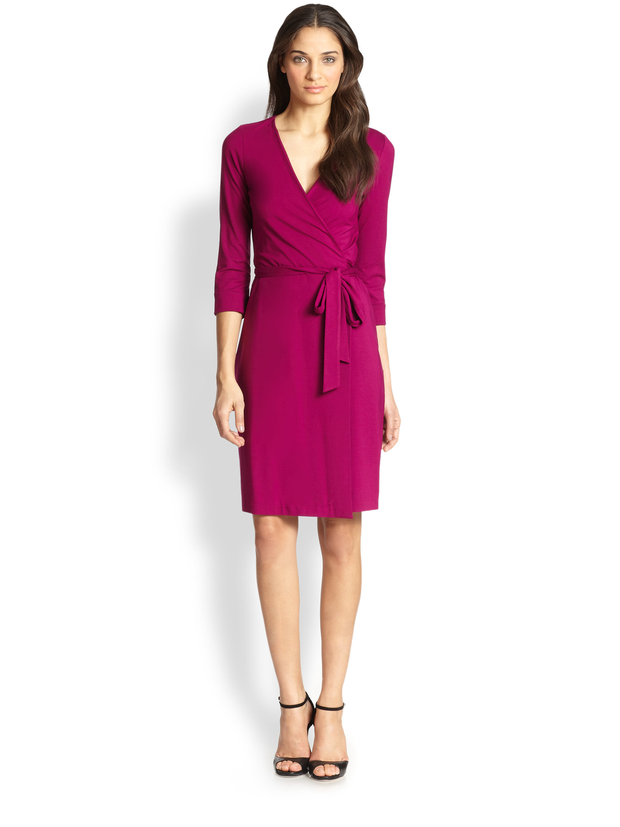 diane von furstenberg new julian wrap dress in pink lotus berry lyst. Black Bedroom Furniture Sets. Home Design Ideas