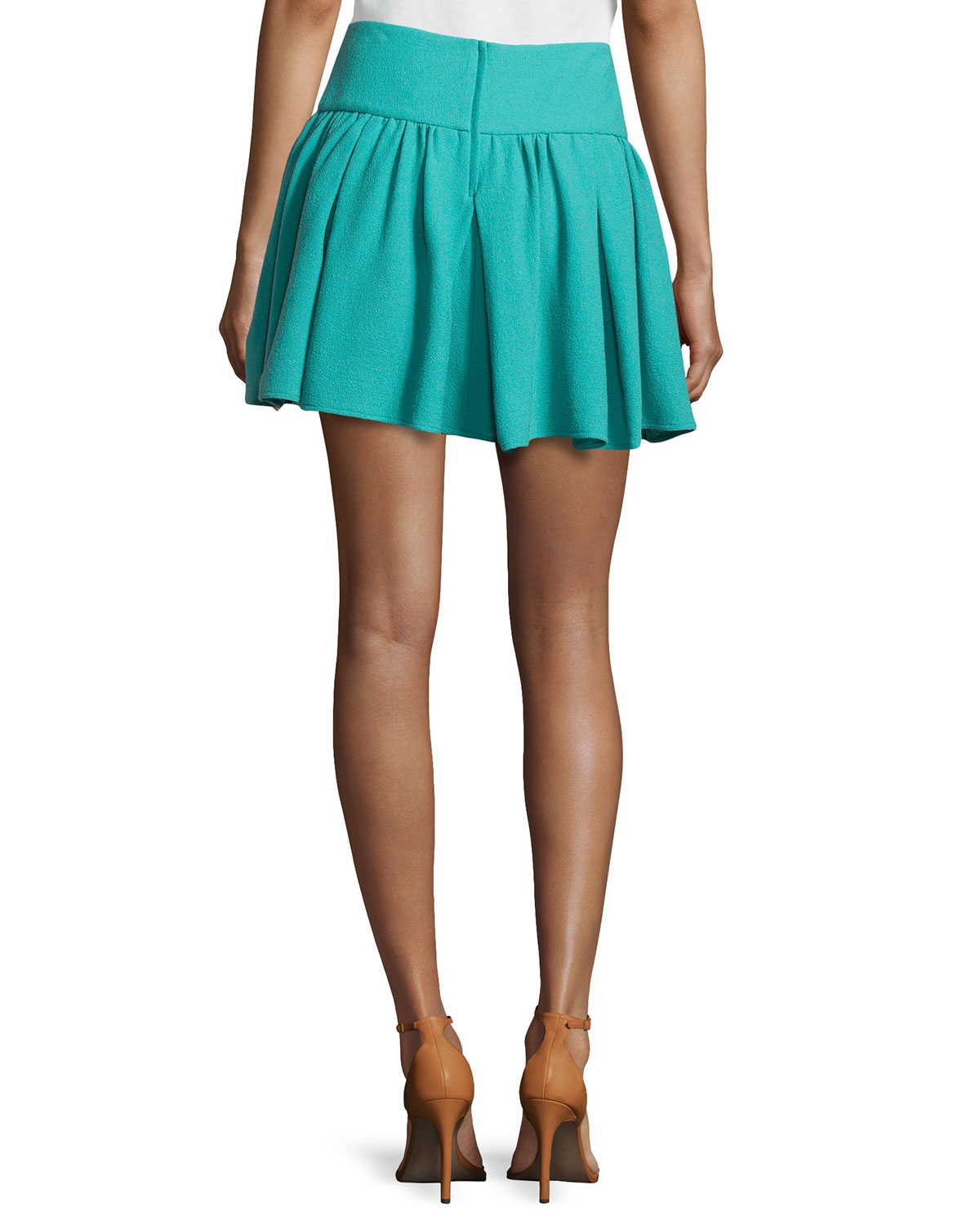 valentino pleated mini circle skirt in blue lyst