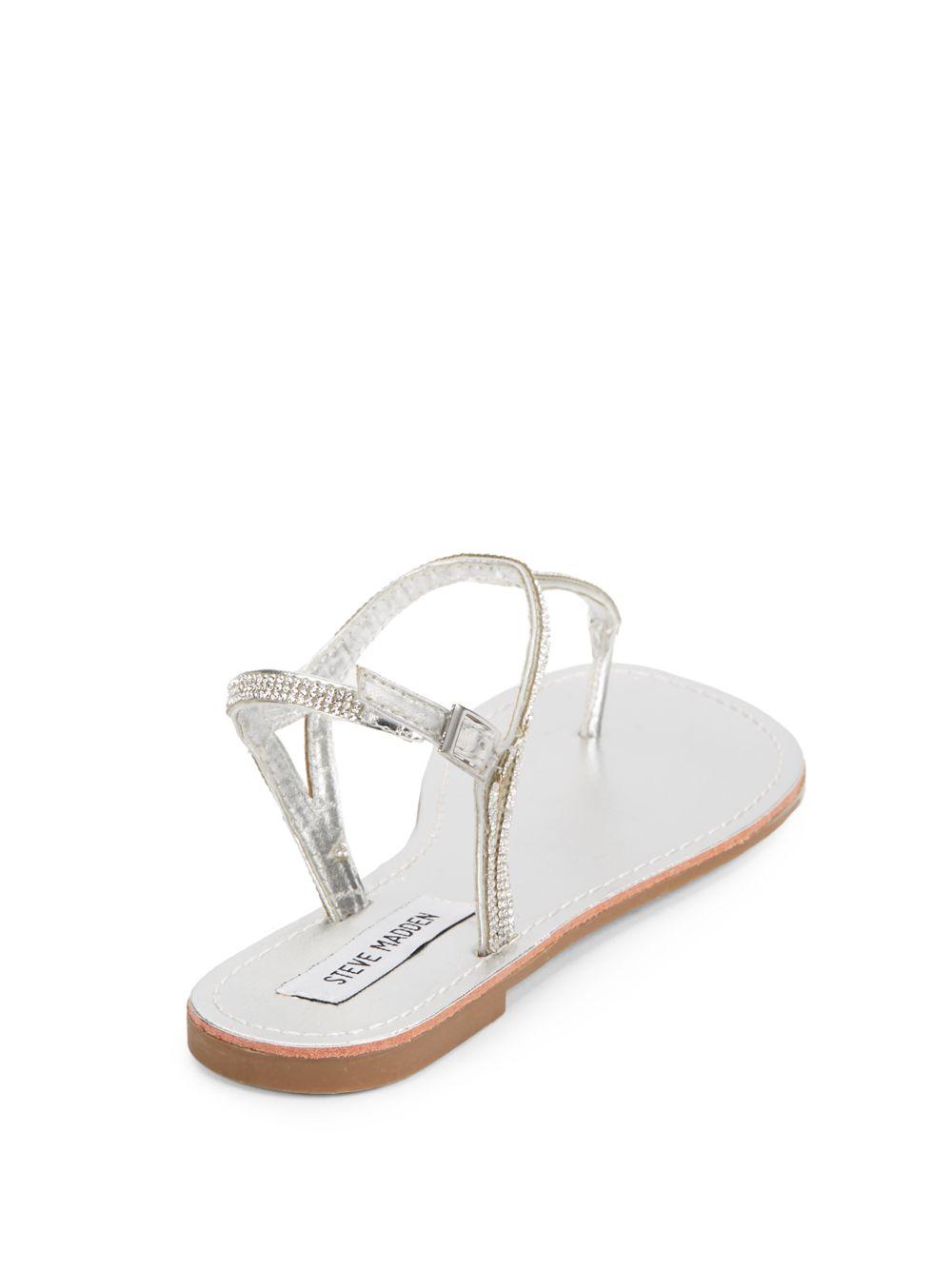 afe4a56190f Steve Madden Metallic Rhinestone Thong Sandals