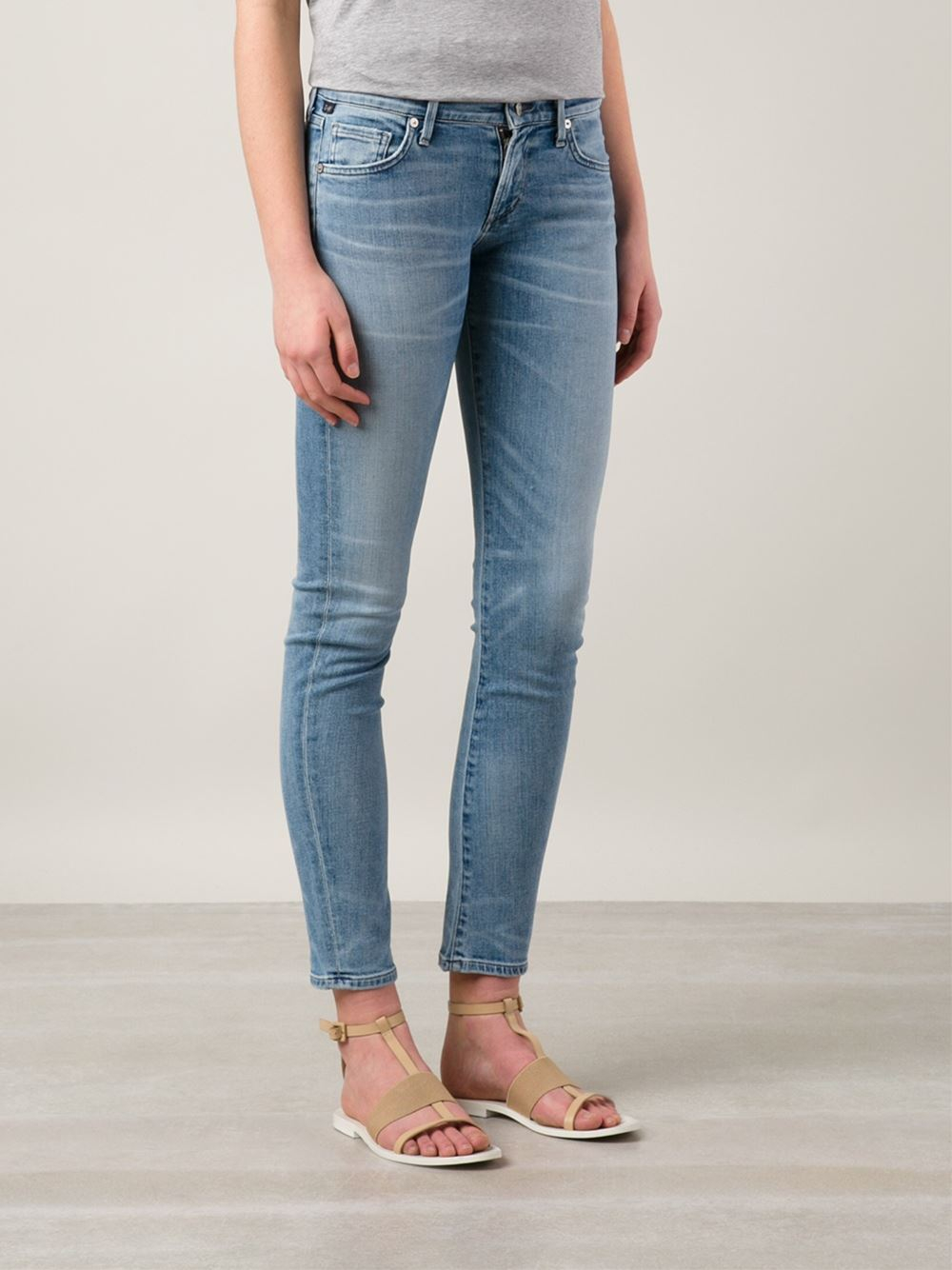 Citizens of Humanity Arielle Slim Mid-Rise Stretch-Denim Jeans in Blue