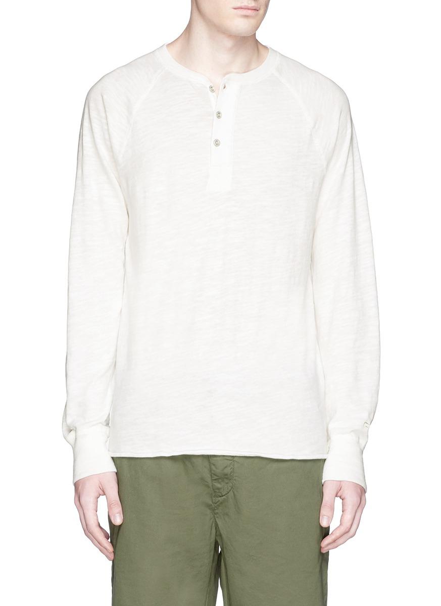 Rag bone long sleeve raglan henley shirt in white for for Rag and bone white t shirt