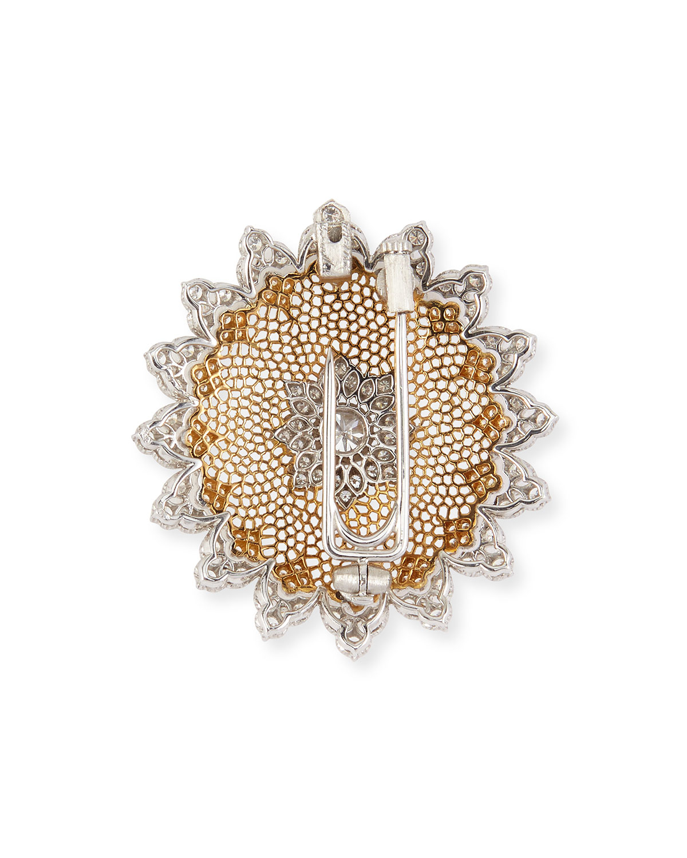 Buccellati Tulle Diamond Brooch Pendant Necklace In