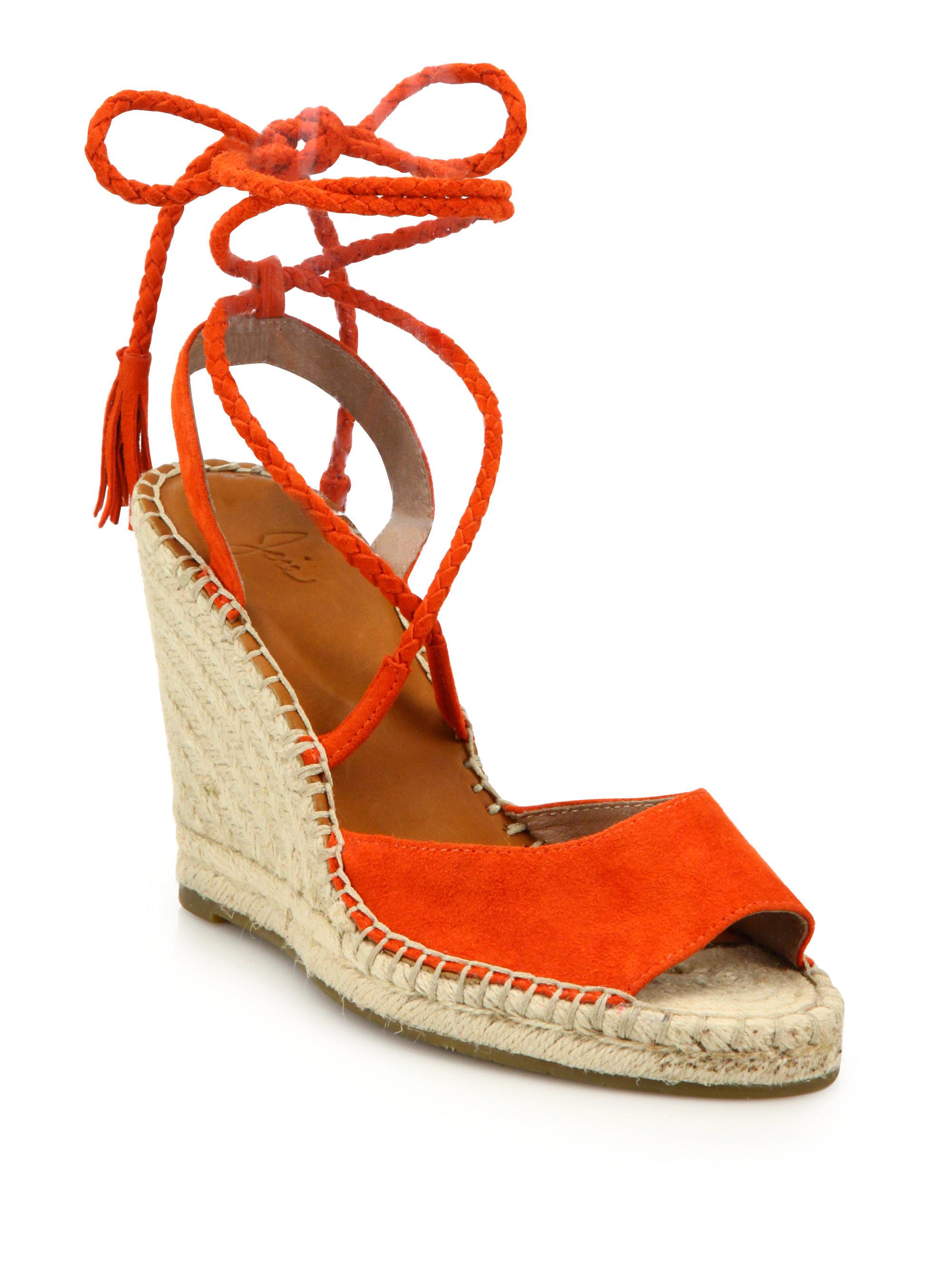 eab132c83a1 Joie Orange Phyllis Suede Lace-up Espadrille Wedge Sandals
