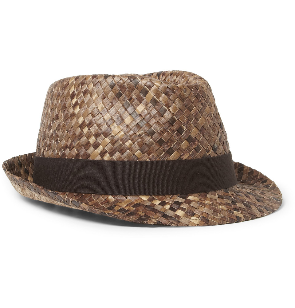 5de657cd41d Paul Smith Woven Straw Fedora Hat In Brown For Men Lyst