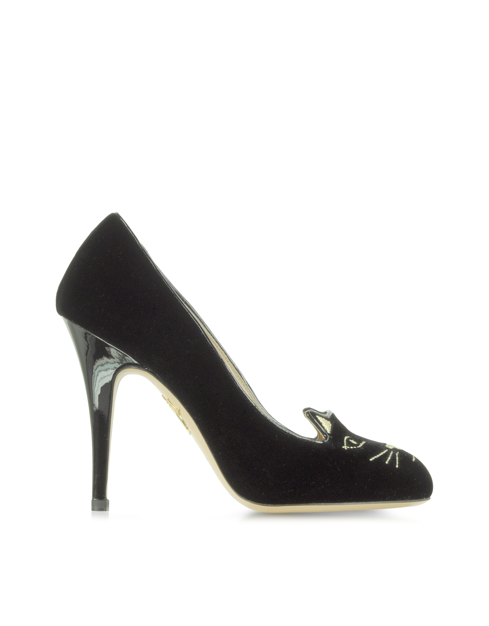 Charlotte Olympia KITTY Kitty velvet high heeled shoes black size: 35 12 (Charlotte Olympia)