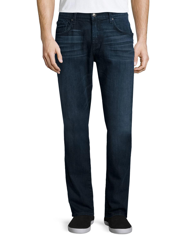 for all mankind straight leg foolproof denim jeans in blue for men. Black Bedroom Furniture Sets. Home Design Ideas