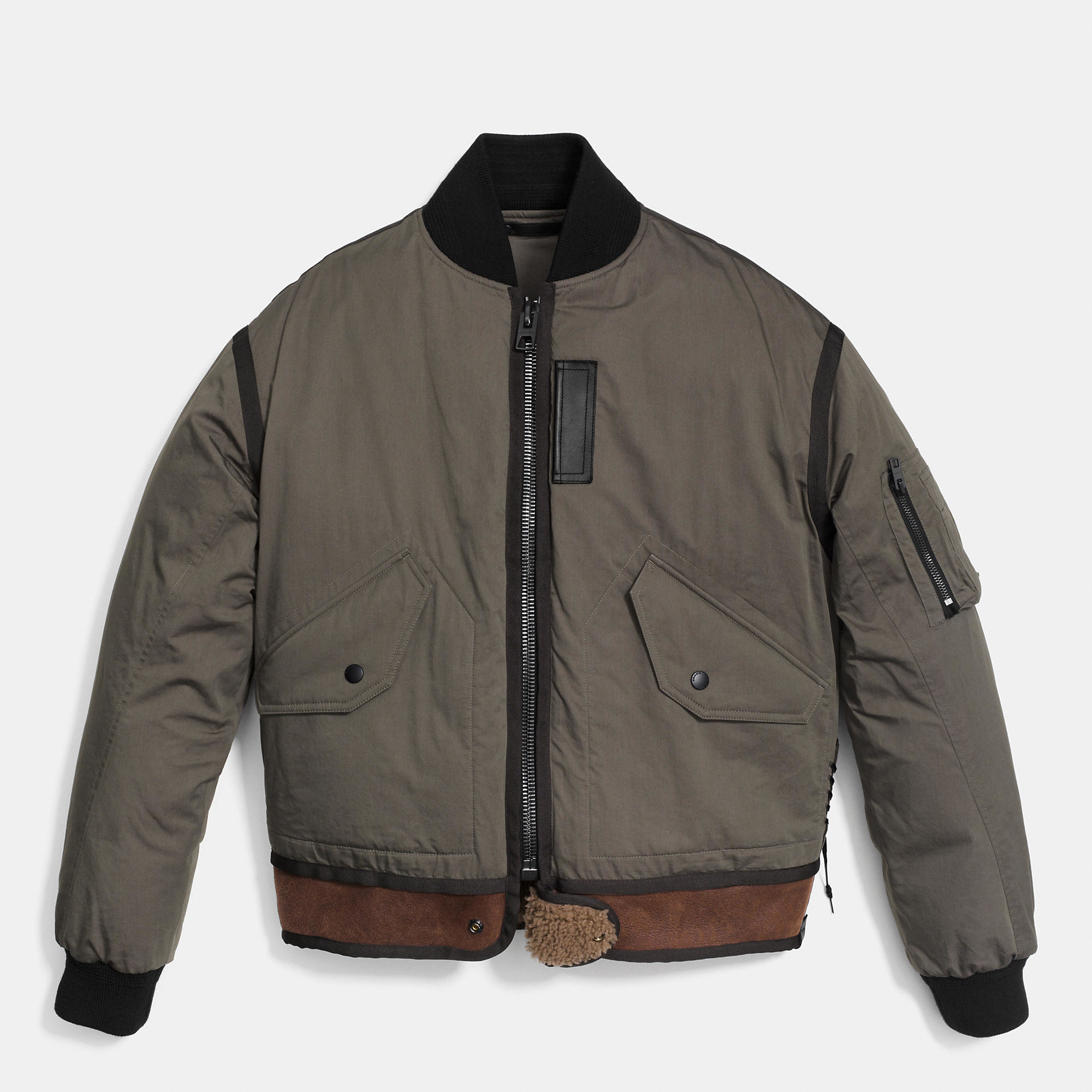 Leather jacket zip repair - Coach Rip And Repair Down Ma 1 Jacket In Gray For Men Lyst