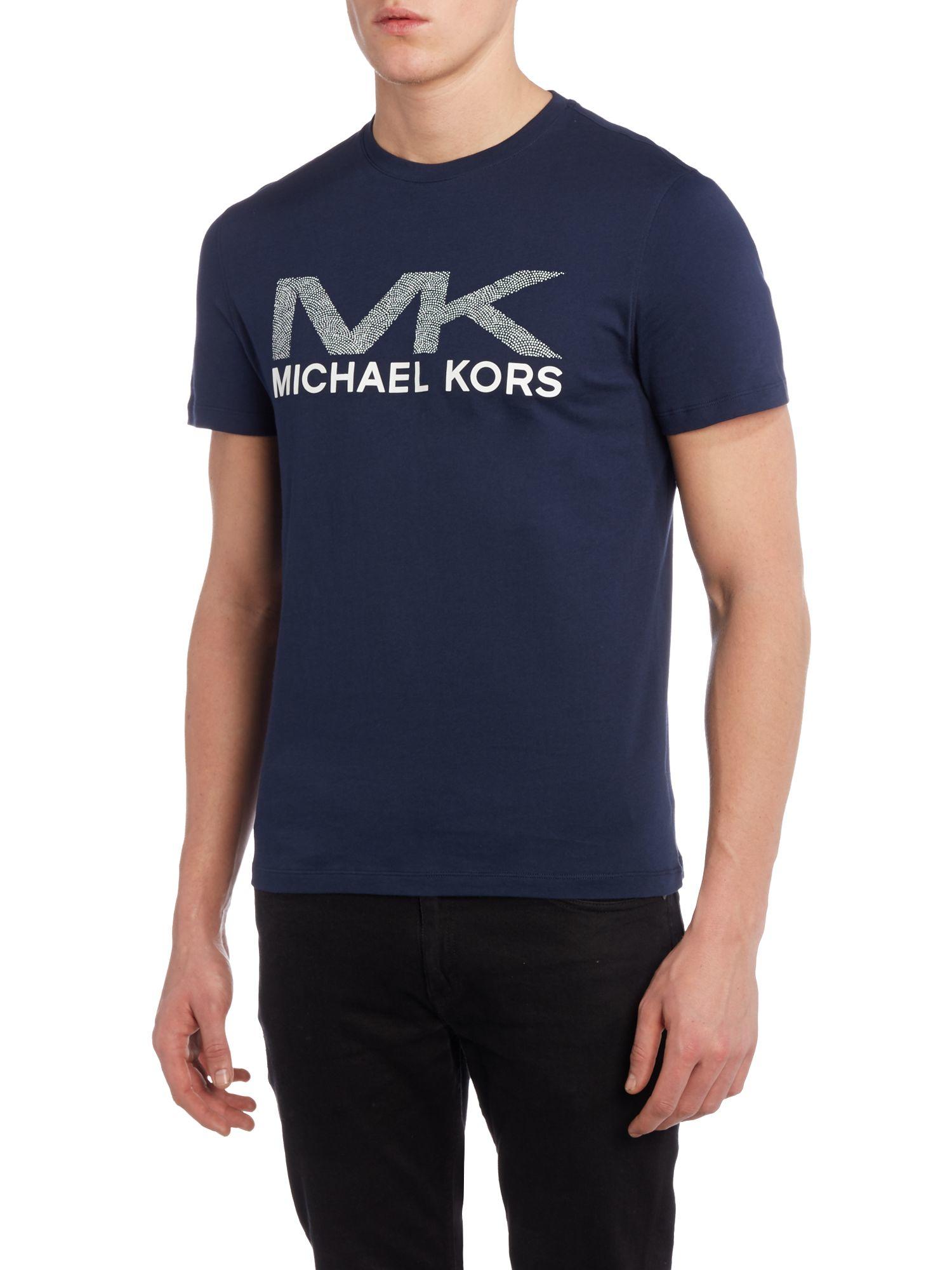 michael kors regular fit dotted mk logo print t shirt in blue for men lyst. Black Bedroom Furniture Sets. Home Design Ideas